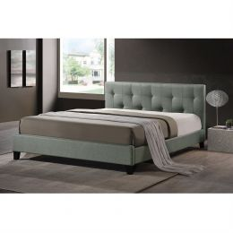 Queen size Gray Linen Upholstered Platform Bed with Headboard