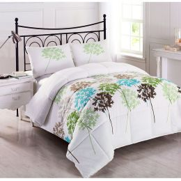 Twin size 2-Piece Reversible Microfiber Comforter Set with Leaves Pattern