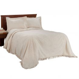 Queen size Natural Off-White Beige Cotton Chenille Bedspread with Fringe Edge