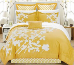 Queen size Yellow 7-Piece Floral Bed in a Bag Comforter Set