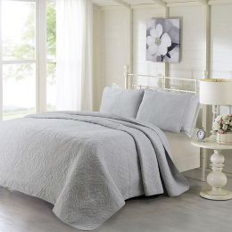 King size 3-Piece Cotton Bedspread and Shams Set in Grey Quilted Damask Pattern