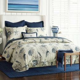 King size 3-Piece Bedspread Quilt Set in 100-Percent Cotton with Seashells Ocean Beach Nautical Pattern