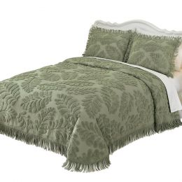 Queen size Sage Green Luxurious Chenille Bedspread in 100-percent Cotton