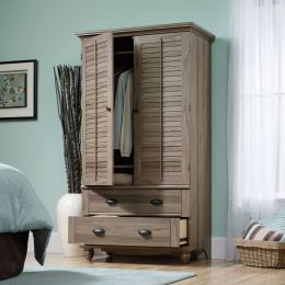 Wardrobe Cabinet Bedroom Storage or TV Armoire in Medium Brown Oak Finish
