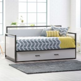 Twin size Modern Metal Frame Daybed with Pull-out Trundle Bed in Glossy White Finish