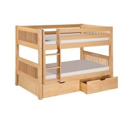 Twin over Twin Bunk Bed with Drawers in Natural Wood Finish