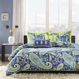 Twin / Twin XL 5-Piece Paisley Comforter Set in Blue and Yellow Colors