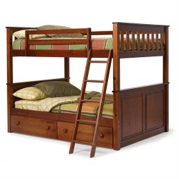 Full over Full size Bunk Bed in Solid Hardwood with Chocolate Brown Finish